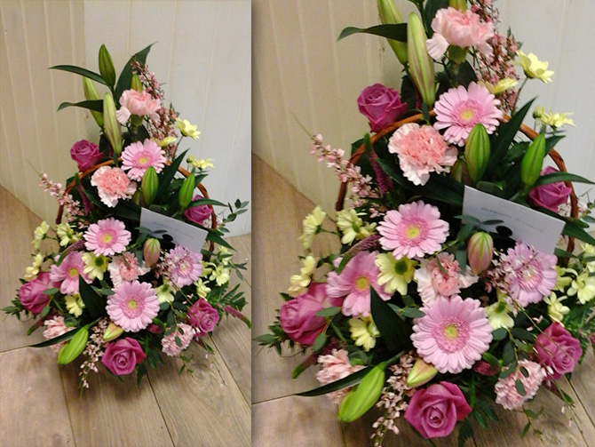 Anniversary flowers front facing basket arrangement pink AGB2