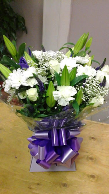 Purple birthday aqua gift boxes north Bristol florist BB2