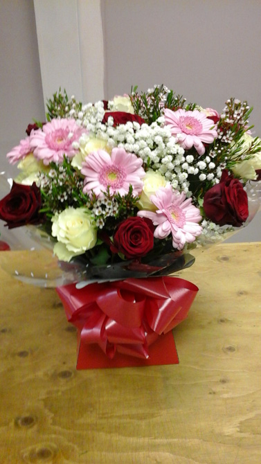 Red birthday aqua gift boxes north Bristol florist BB4