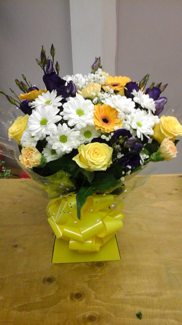 Yellow birthday aqua gift boxes north Bristol florist BB3