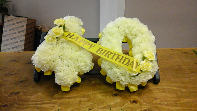 Birthday number tributes florist north Bristol BN1