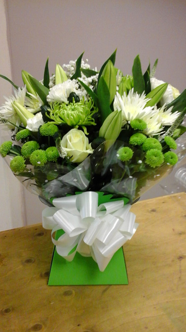 Green and white congratulation aqua gift boxes Bristol florist CB2