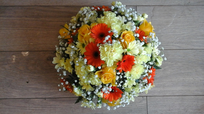 Funeral flowers basket arrangement white red florist Bristol FA2
