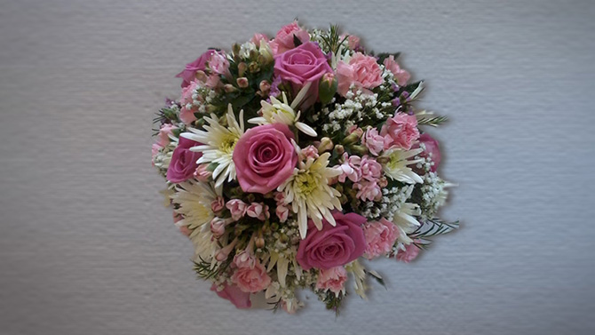 Funeral flowers posy arrangement pink yellow florist Bristol FA1