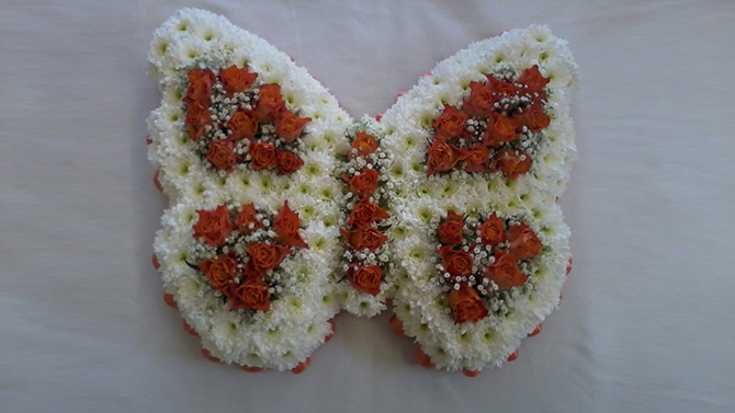 Funeral flowers butterfly shaped white red florist north Bristol FBF2