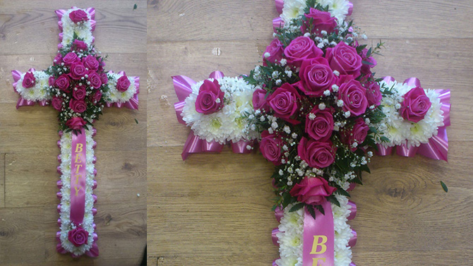 Cross shaped funeral flowers named pink white florist bristol FCR1