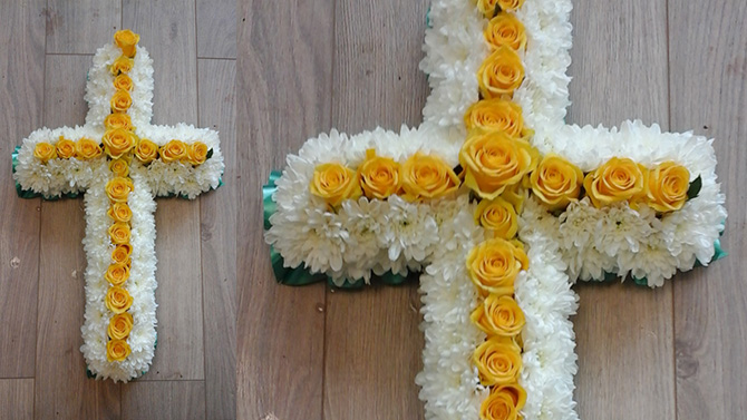 Cross shaped funeral flowers white yellow florist bristol FCR3