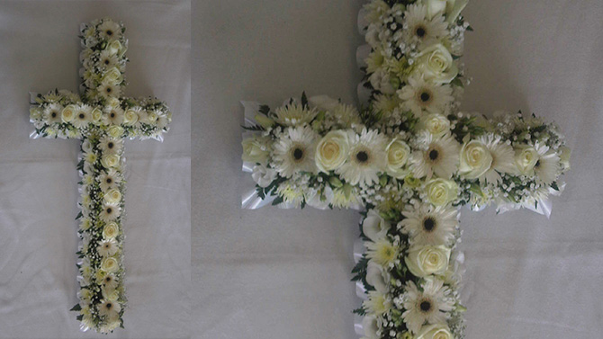 Funeral flowers cross white flowers florist bristol FCR4