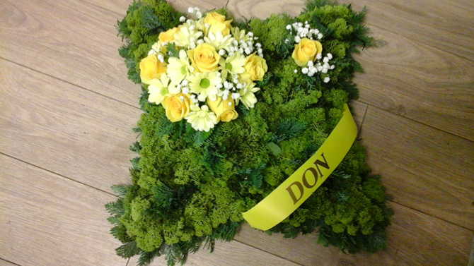 Cushion shaped funeral flowers green north Bristol FCU4