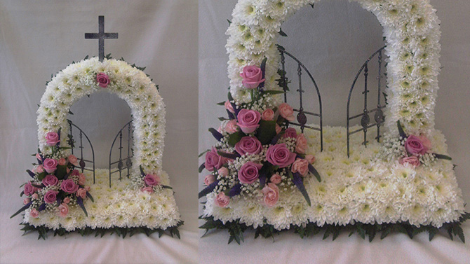 Gates of heaven funeral flowers white pink north Bristol florist FGH1