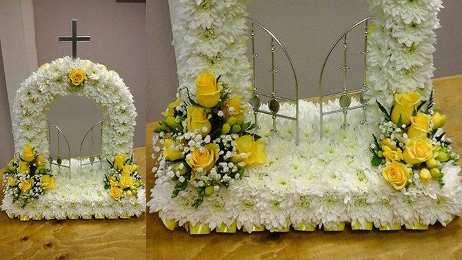 Gates of heaven funeral flowers white yellow north Bristol florist FGH2