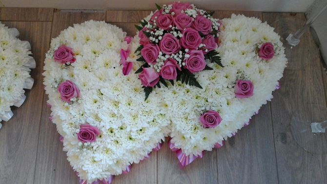 Double heart shaped funeral flower white pink florist Bristol FH1