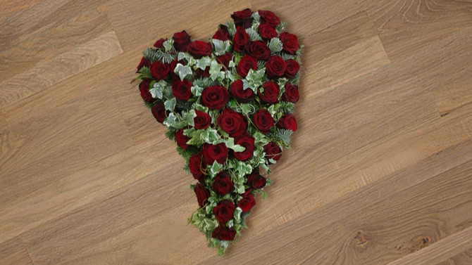 Heart shaped funeral flowers red green florist Bristol FH3