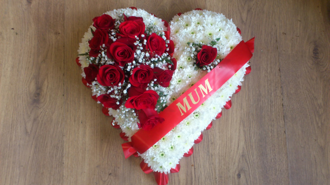 Heart shaped mum funeral flowers white red florist Bristol FH4