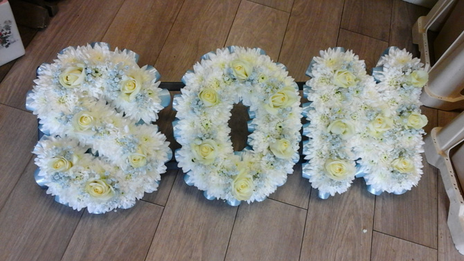 Son, young child funeral flowers letters florist Bristol FNL4