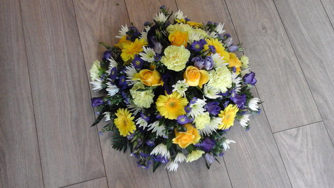 Funeral flowers posy yellow and blue florist Bristol FPO3