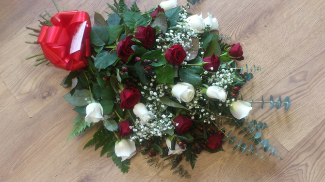 Funeral sheaf red white funeral flowers florist Bristol FSH1