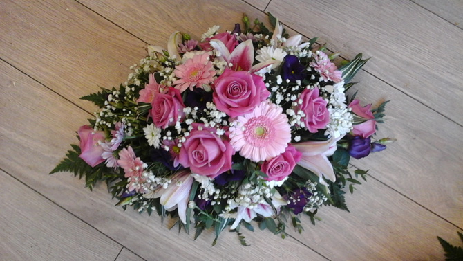 Funeral flowers double ended oasis pink spray florist Bristol FS2