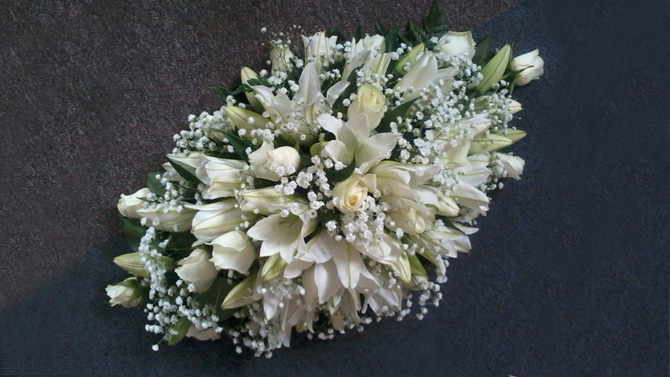 Funeral flowers double ended oasis spray white lilies and roses florist Bristol FS1