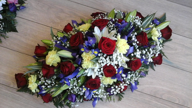 Funeral flowers double ended oasis spray with roses, ims, lilies florist Bristol FS3