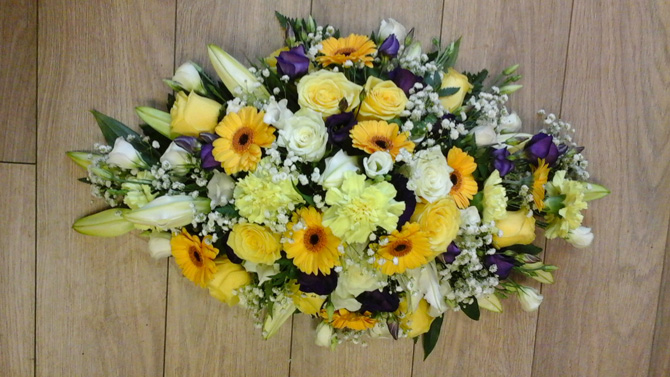 Funeral flowers double ended oasis spray yellow roses, gerberas florist Bristol FS4