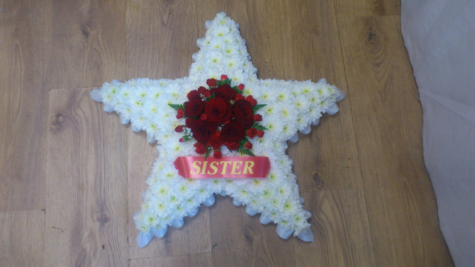 Star shapped funeral flowers white florist north Bristol FST1