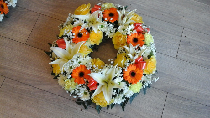 Funeral wreath orange white yellow Bristol florist FW2