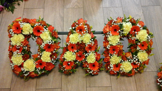 Dad father funeral flowers letters florist Bristol FNL2